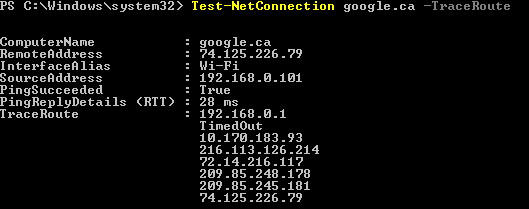 Test-Net-Traceroute